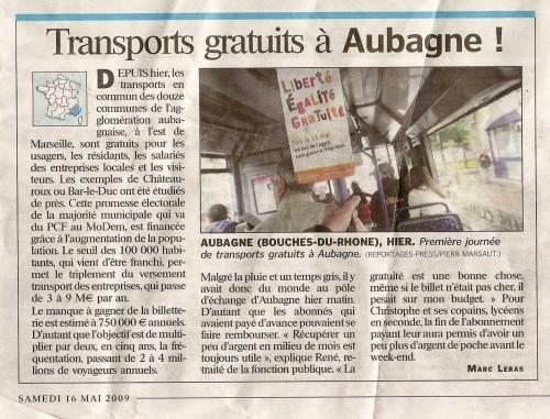 Transports gratuits à Aubagne !